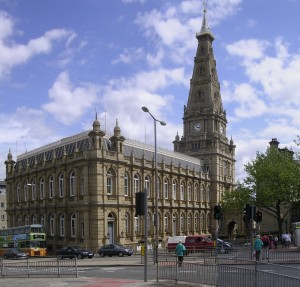 Halifax Town Hall - built of Halifax stone and opened in 1863.